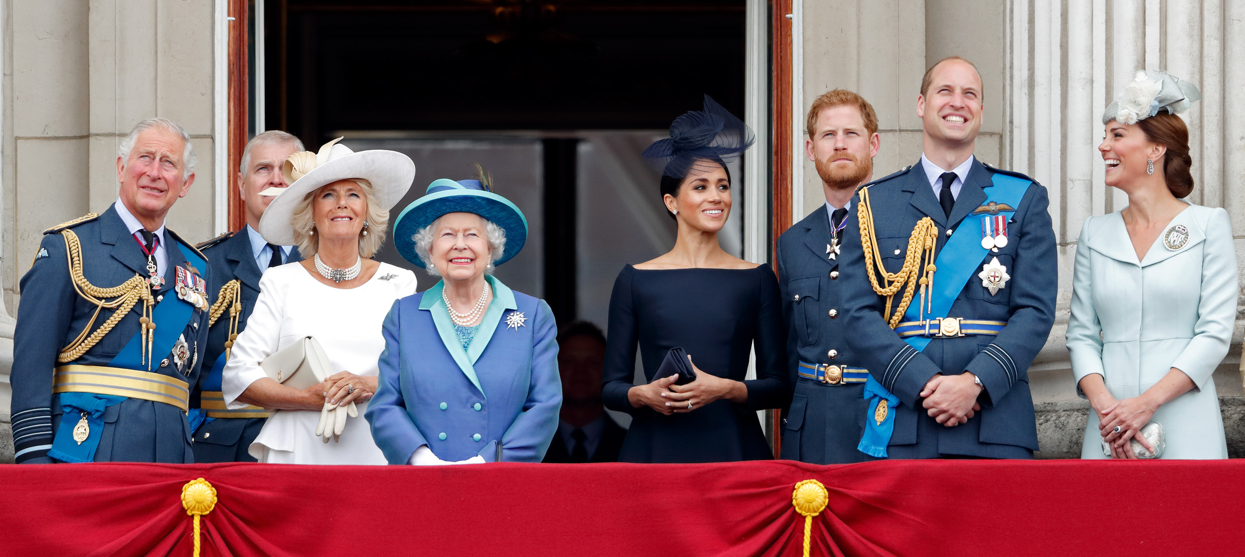 LONDON, UNITED KINGDOM - JULY 10: (EMBARGOED FOR PUBLICATION IN UK NEWSPAPERS UNTIL 24 HOURS AFTER CREATE DATE AND TIME) Prince Charles, Prince of Wales, Camilla, Duchess of Cornwall, Queen Elizabeth II, Meghan, Duchess of Sussex, Prince Harry, Duke of...