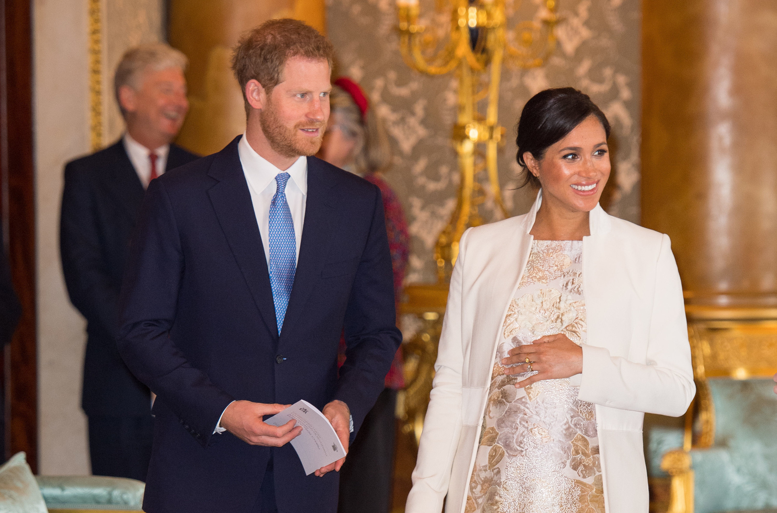 LONDON, ENGLAND - MARCH 5: Meghan, Duchess of Sussex and Prince Harry, Duke of Sussex attend a reception to mark the fiftieth anniversary of the investiture of the Prince of Wales at Buckingham Palace on March 5, 2019 in London, England. (Photo by...