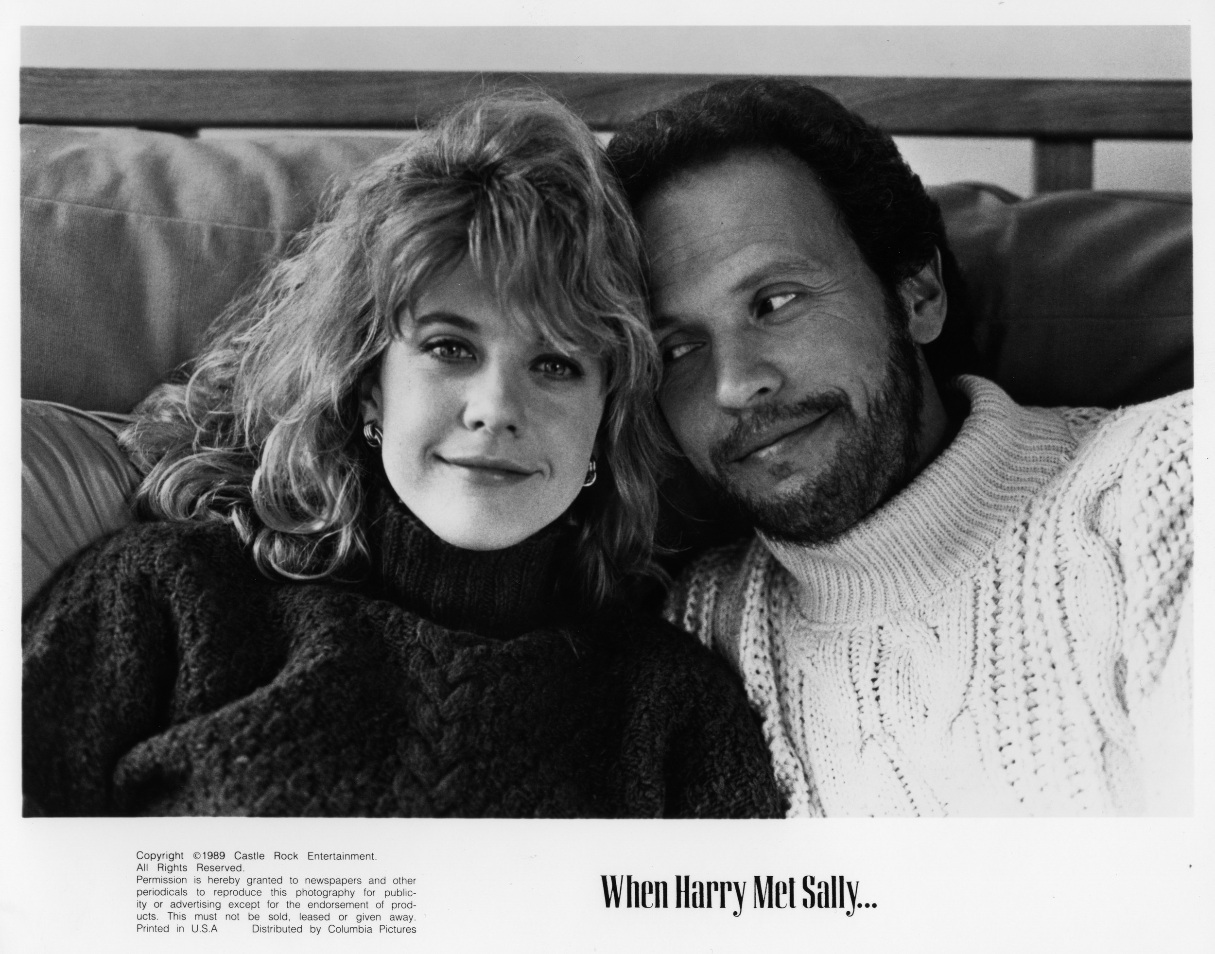 CIRCA 1989: Meg Ryan and Billy Crystal pose for the movie 'When Harry Met Sally' circa 1989. (Photo by Hulton Archive/Getty Images)