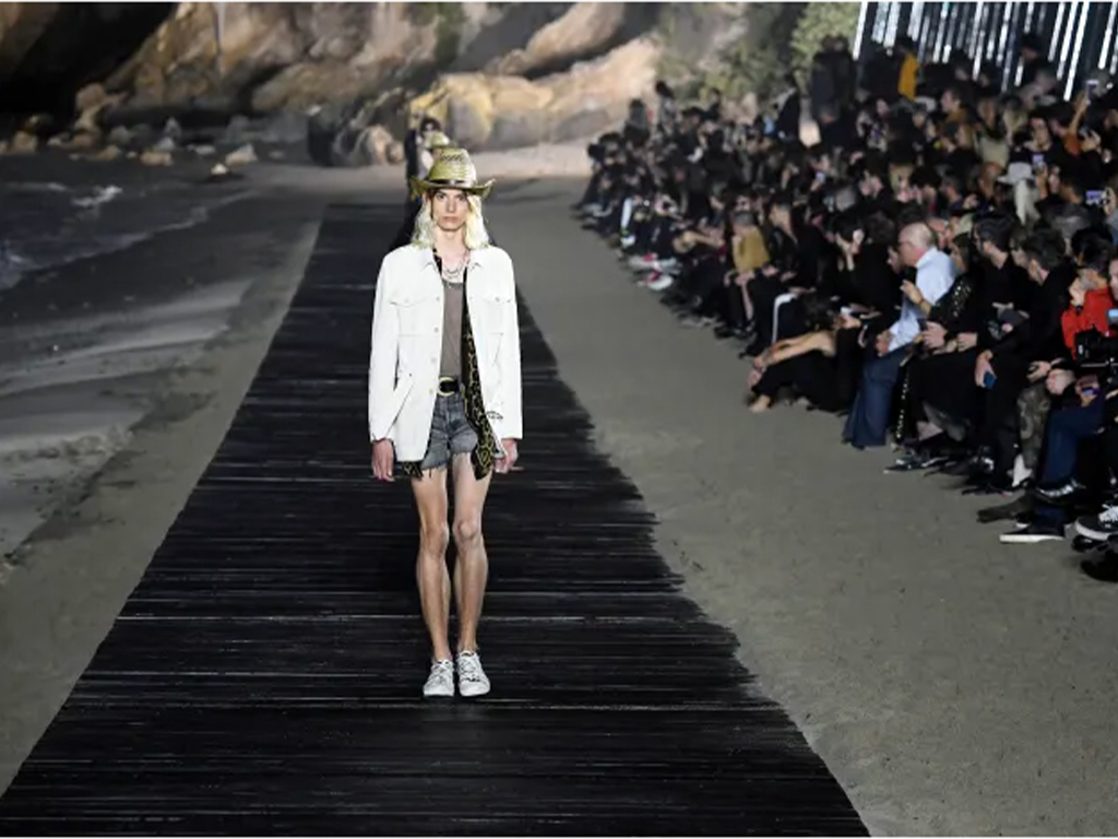 Anthony Vaccarello Shows Bohemian Wares Against Crashing Malibu Waves for Saint Laurent Men's 2020