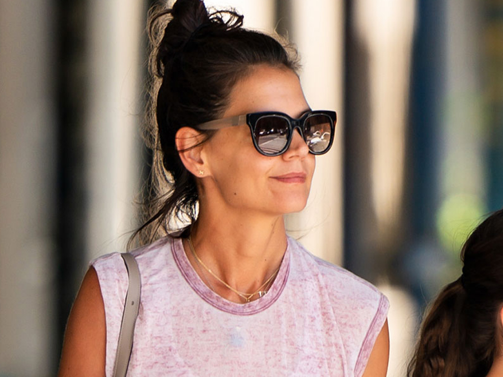 Katie Holmes Wore a Knit Bra and Sweater Set as She Hailed a Cab and Sipped Coffees with Daughter Suri